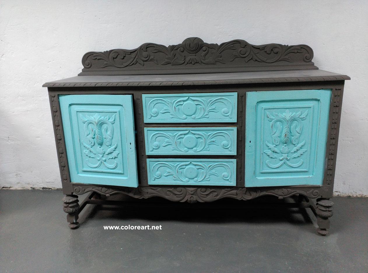 Adesivo Decorativo Portas De Vidro ~ Restaurar muebles Tunear un aparador en dos colores