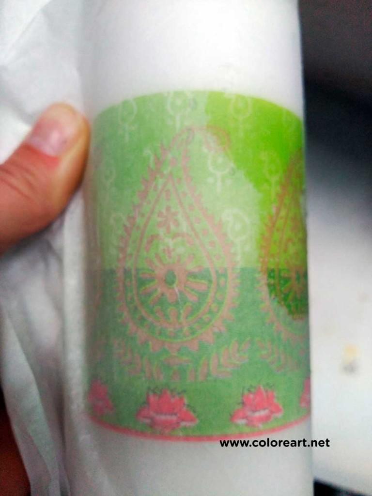 detalle del cambio de color de la servilleta en el transfer en velas