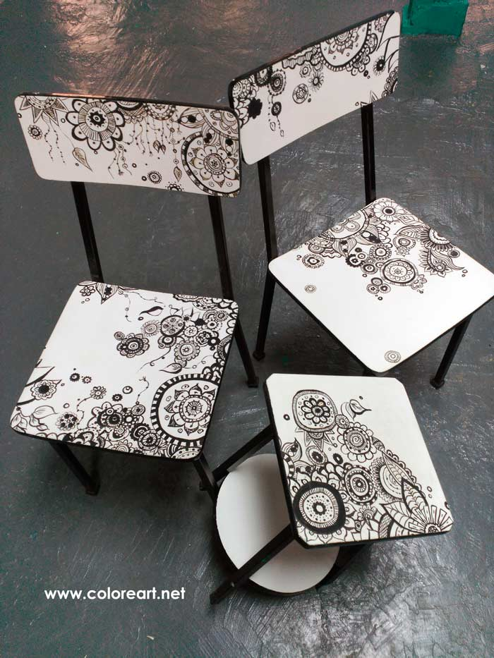 pintar muebles con dibujo zentangle en blanco y negro