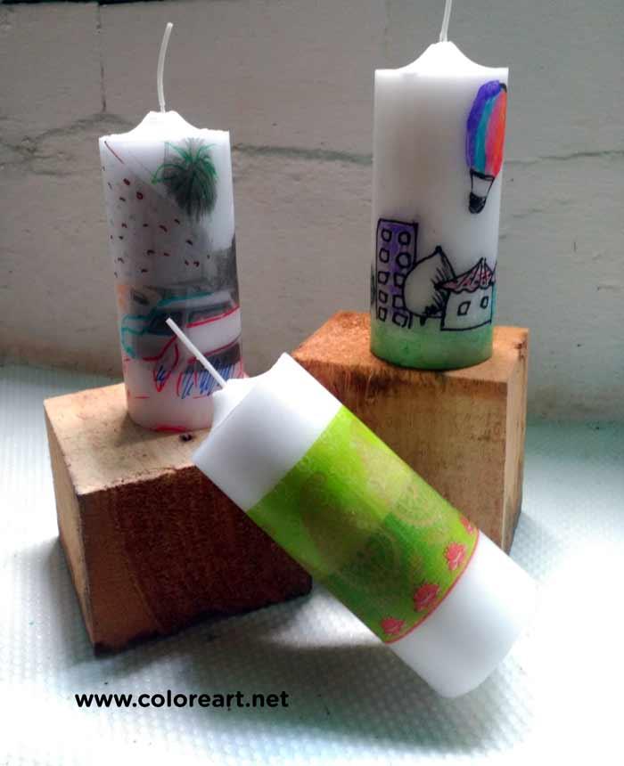 velas con transfer de servilleta, y dibujos sobre papel de seda