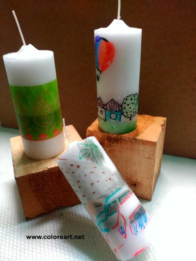 transfer en velas con servilleta y papel de seda