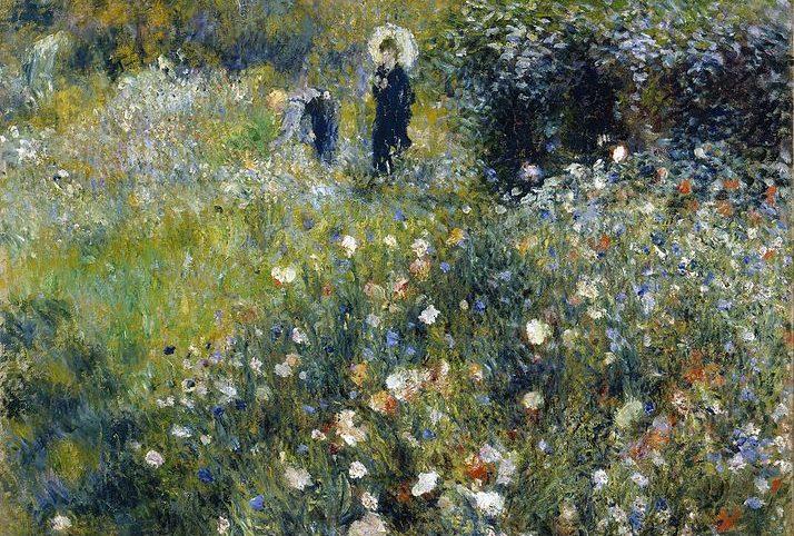 pintura impresionismo mujer con sombrilla en un jardin de Renoir