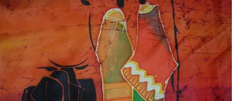 Pañuelo de seda pintado con técnica de batik