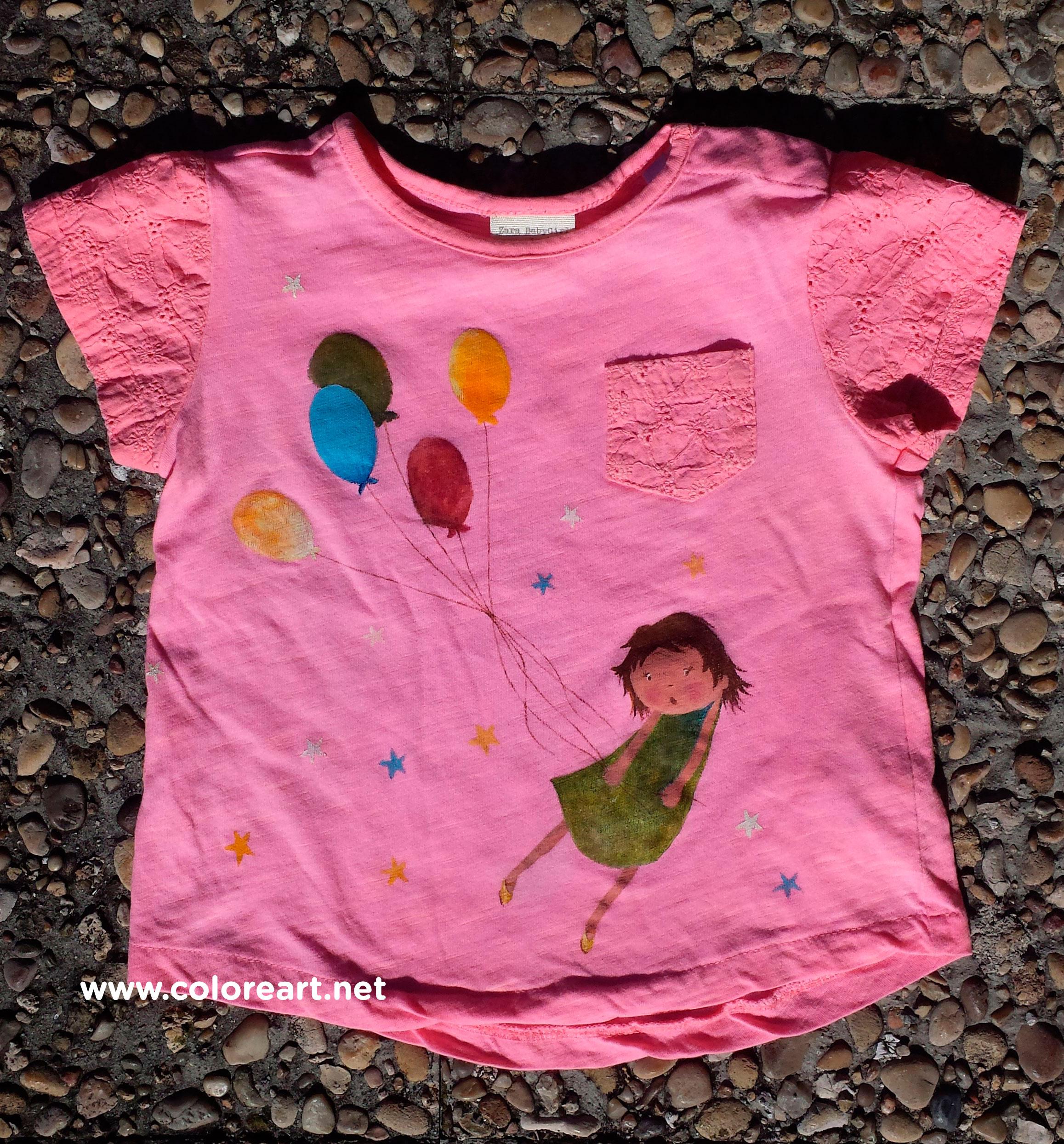 camiseta pintada a mano con acrílicos