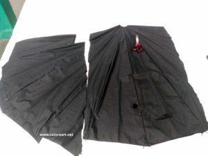 tela de paraguas cortada