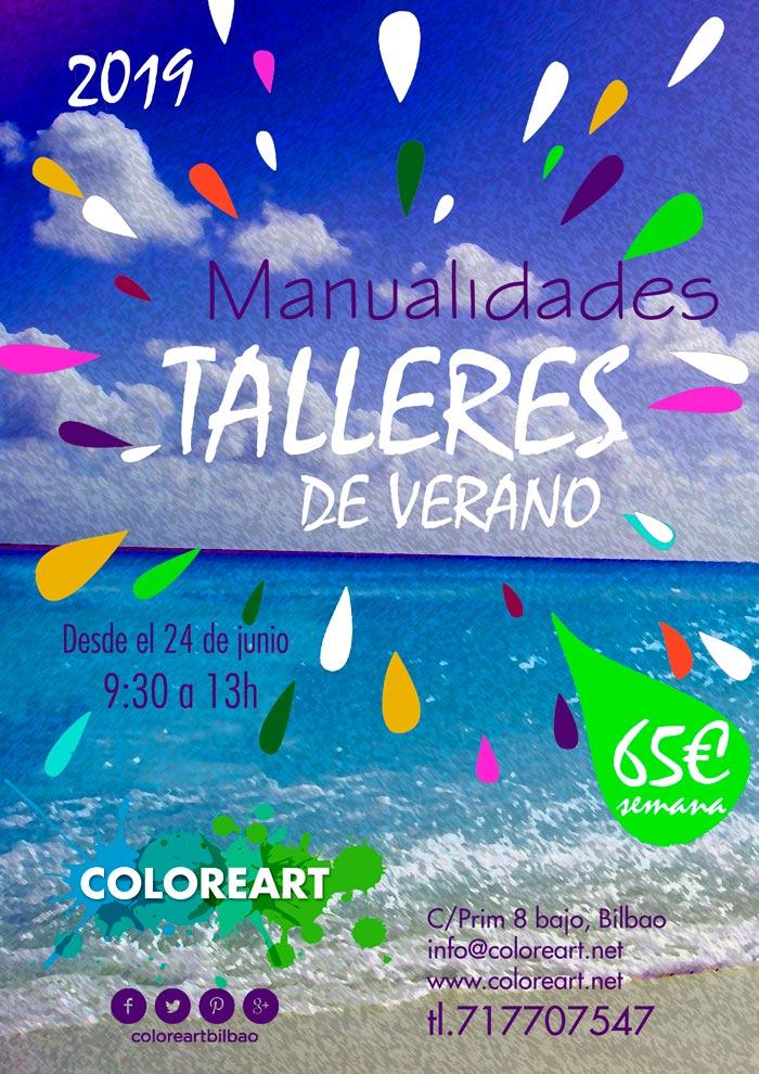 cartel talleres verano 2019 en coloreart bilbao