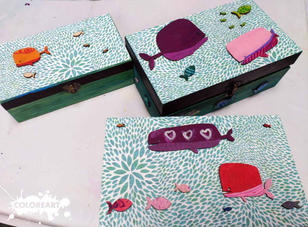 cajas decoradas con decoupage, tinte y aplicaciones DM